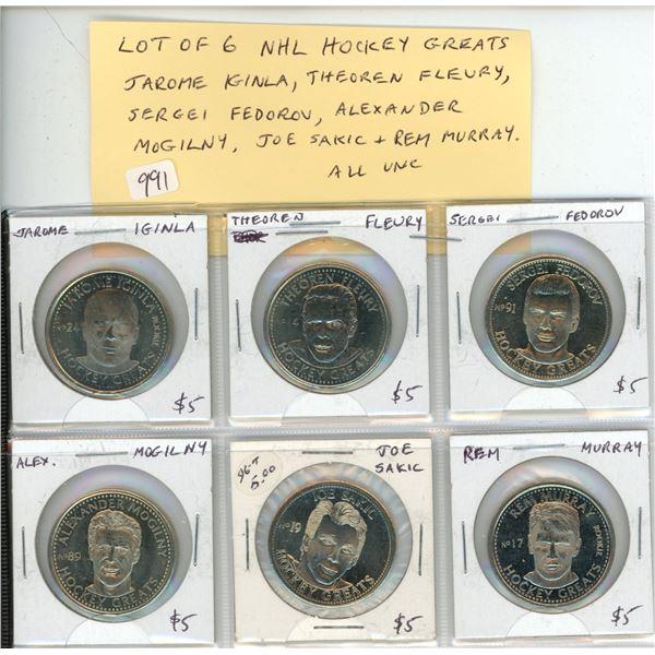 Lot of 6 NHL Hockey Greats Coins including Jarome iginla, Theoren Fleury, Sergei Fedorov, Alexander