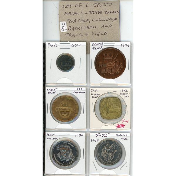 Lot of 6 Sports Medals and Trade Dollars. Includes PGA Golf, Curling, Basketball and Track & Field.