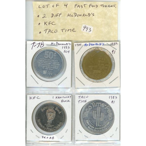 Lot of 4 Fast Food Tokens: 2 different McDonald's, Kentucky Fried Chicken and Taco Time. All Unc.