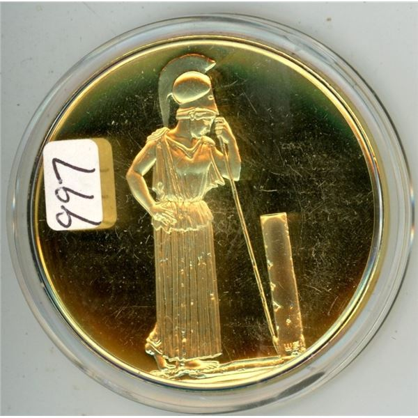 Parthenon. From the Ancient Greece Medals Series. A beautiful gold-plated bronze medal measuring 50m