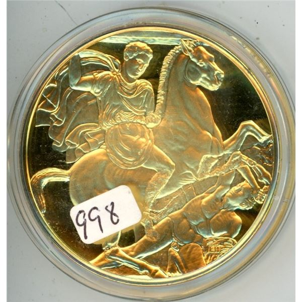 Mourning Athena. From the Ancient Greece Medals Series. A beautiful gold-plated bronze medal measuri