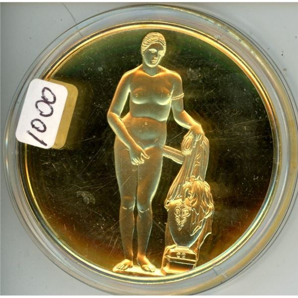 Aphrodite of Knidos. From the Ancient Greece Medals Series. A beautiful gold-plated bronze medal mea