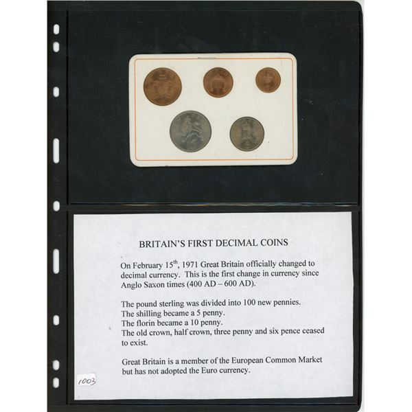 Great Britain's First Decimal Coins. Complete set of 5 1971 coins including half penny, penny, two p
