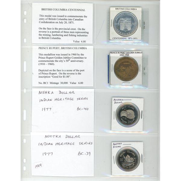 Lot of 4 British Columbia Medals and Trade Dollars. 1971 BC Centennial, 1960 Prince Rupert BC-1, (th