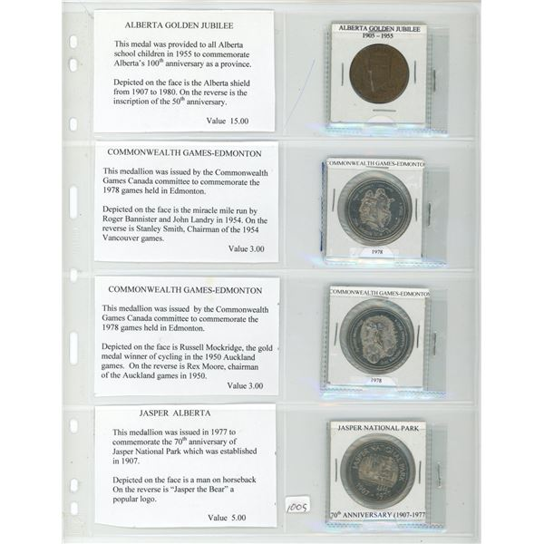 Lot of 4 Alberta Medals and Trade Dollars. 1905-1955 Alberta Golden Jubilee Medal, 2 different 1978