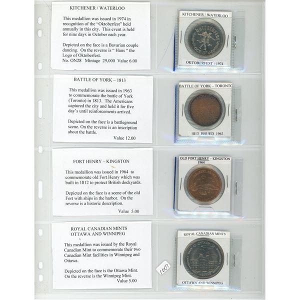 Lot of 4 Ontario Medals and Trade Dollars. 1974 Kitchener-Waterloo Oktoberfest, 1813 Battle of York