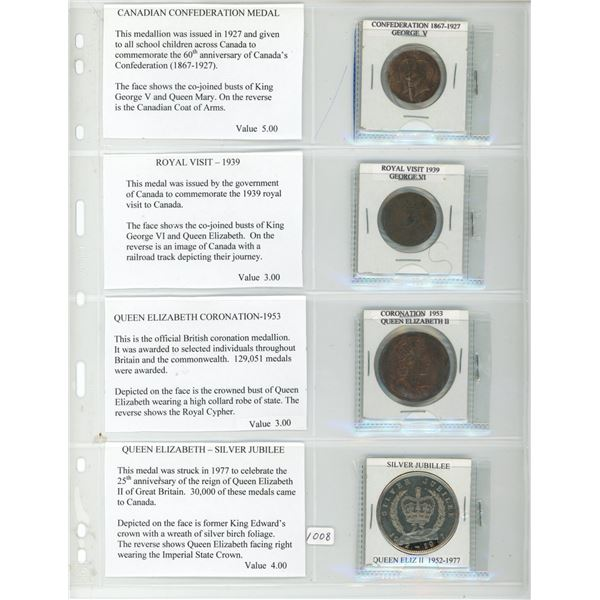 Lot of 4 Important Canadian Milestone medals: 1867-1927 Confederation medal, 1939 Royal Visit to Can