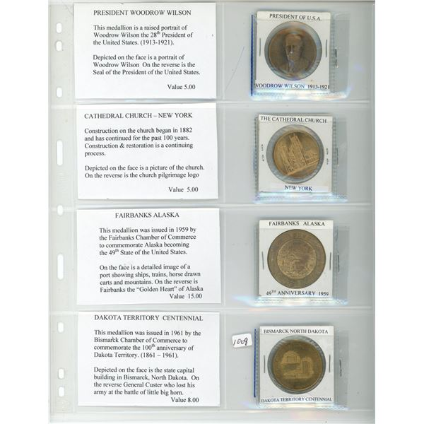 Lot of 4 American medals and Trade Dollars: 1913-1921 President Woodrow Wilson medal, Cathedral Chur