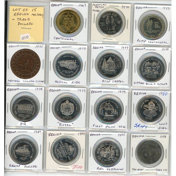 Lot of 15 Regina Trade Dollars & Medals. Includes Centennial, Pemmican Pete & Pearl, RCMP Centennial