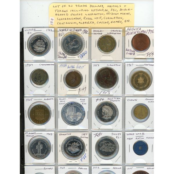 Lot of 20 Trade Dollars, Medals & Tokens including Victoria BC, PEI, Double Headed George Washington