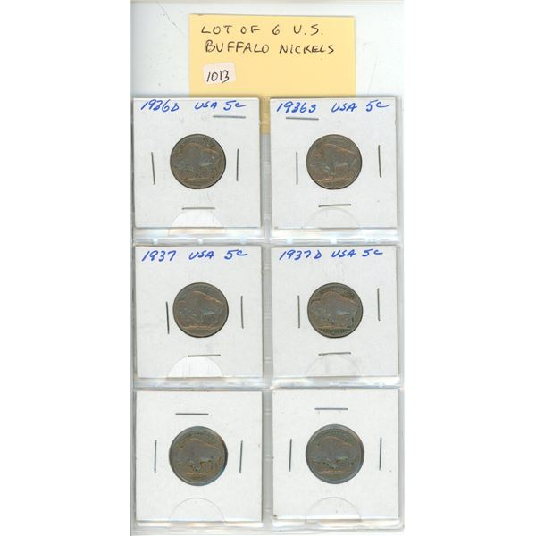 Lot of 6 U.S. Buffalo Nickels including 1936D, 1936S, 1937 and 1937D. various grades.
