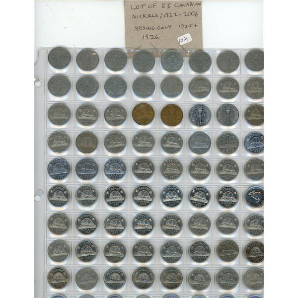 Lot of 88 Canadian Nickels 1922 to 2006. Missing only 1925 and 1926. F-12 to BU.