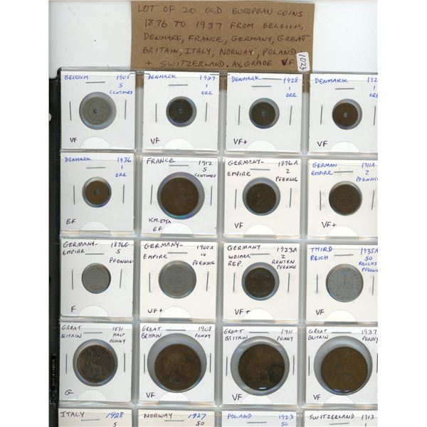 Lot of 20 Old European coins 1876 to 1937. From Belgium, Denmark, France, Germany, Great Britain, It