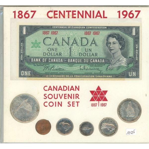 1867-1967 Silver Mint Set plus 1867-1967 $1 paper note. Housed in a custom folder.