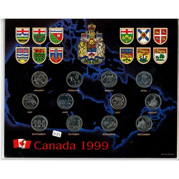 1999 Canada 25 cents. Complete set of 12 Canadian 25 cents, one for each month of the year. All Unc.