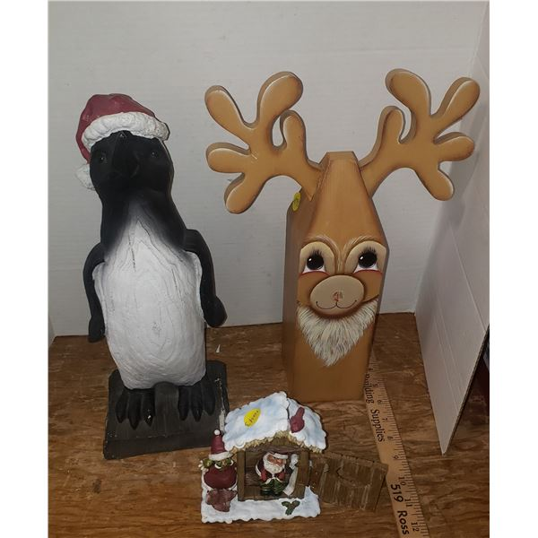 Resin Penguin 14 inch, resiin Santa Outhouse Wooden Hand painted Reindeer 14 inch