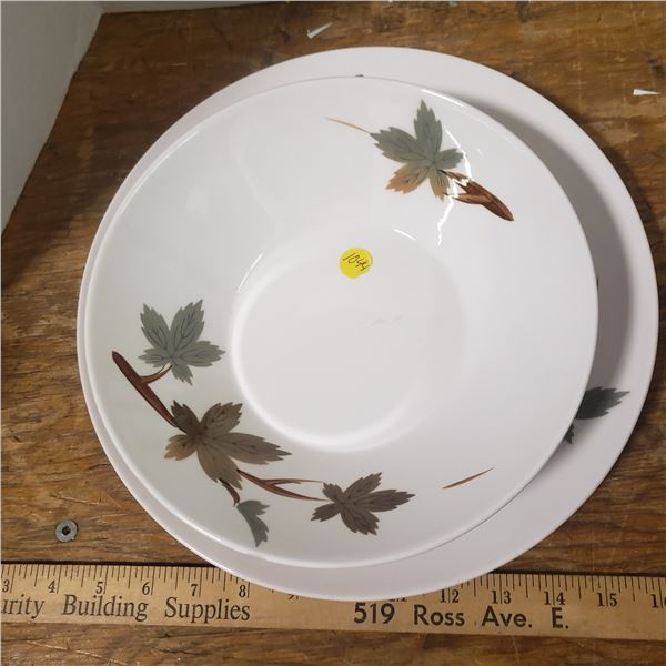 Platter and bowl set - autumn leaves
