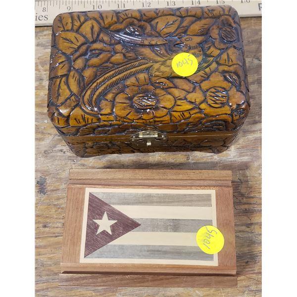 Hand carved trinket box, Wooden Cuban Flag trincket box