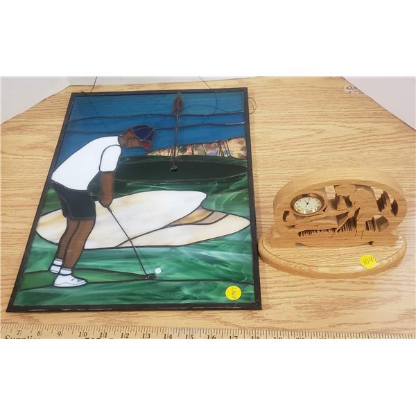 """Stained glass golf scene 16""""x12"""" and scrolled wood clock golfer"""