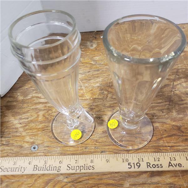 2 vintage parfait glasses- tall parfait glass