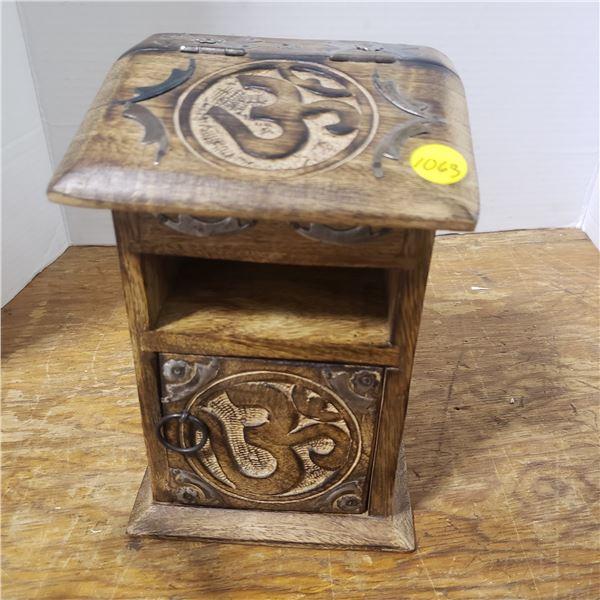 "Wooden Carved desktop storage ""10x4"""