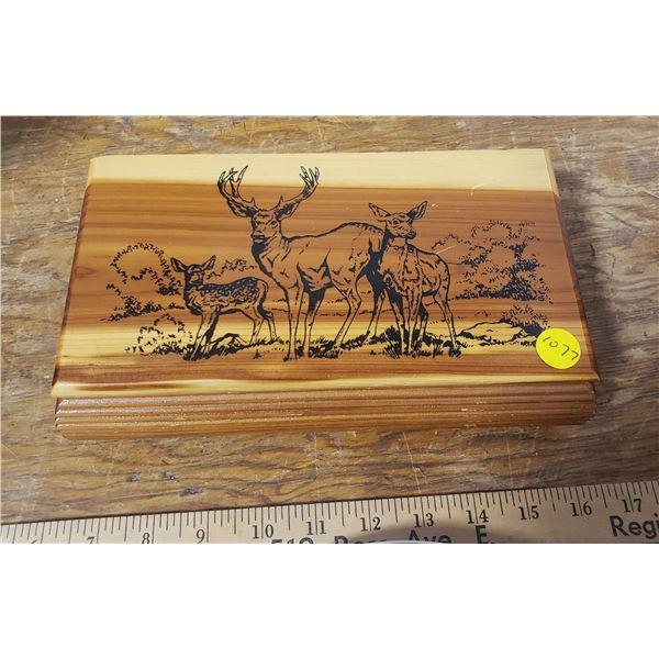 "Wood Trinket box Deer scene 9""x5"""