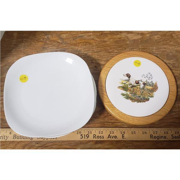 "5 plates 8"" Paderno and Corningware , 1 Oak Trivet - dog"