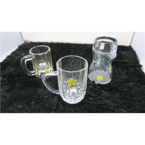 3 Beer Steins Glass crystal