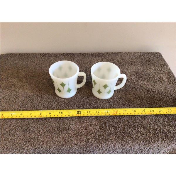 Lot of 2 vintage Fire King Olive Kite design coffee mugs. 1971's era