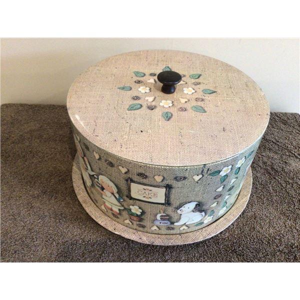 """Vintage metal cake carrier, 10"""" diameter, very nice shape"""