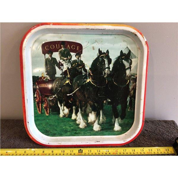 "Vintage retro Courage Beer tray.  13 1/2"" square"