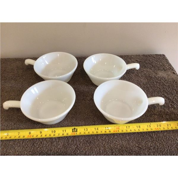 4 vintage Fire King soup/chili bowls with handles.  White milk glass - USA