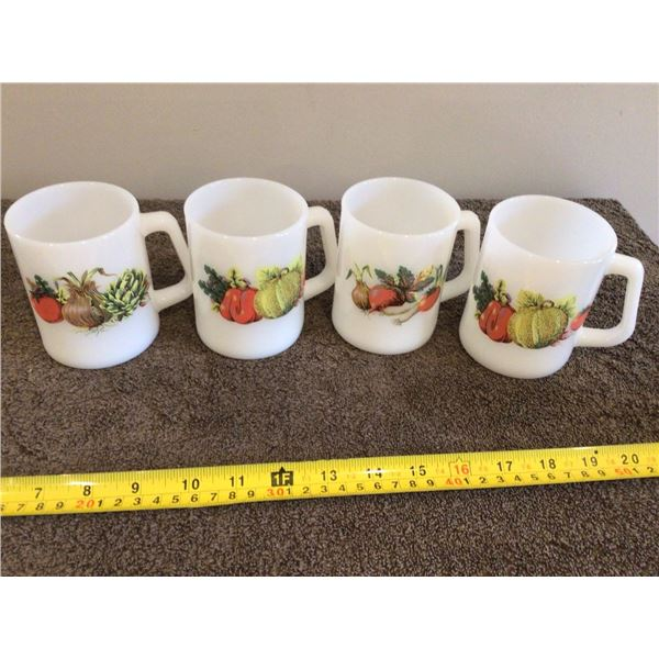 Vintage Fire King white milk glass mugs - D handle.  Lot of 4