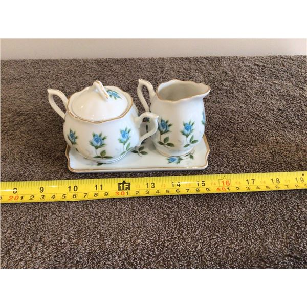 Miniature creamer/sugar bowl and tray.  Blue rose - 4 pieces.  Made in Japan.  Like new