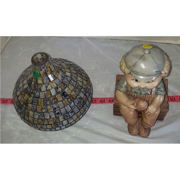 Mosaic glass vase and ceramic boy