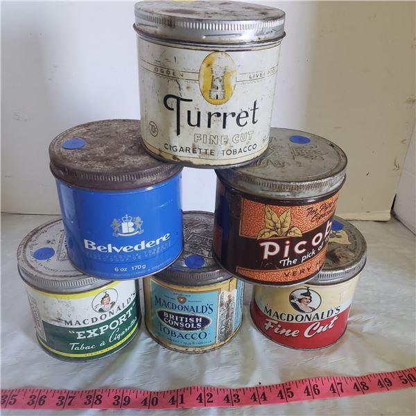 6 tobacco cans 3 Macdonalds, 1 Picobac, 1 Turret, Belvedere
