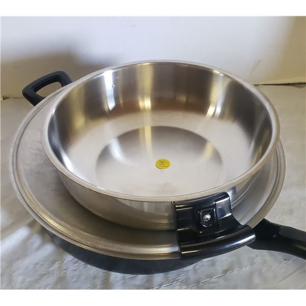 """Heavy Black frying pan with lid (12""""x3.5"""") and stainless steel pot"""