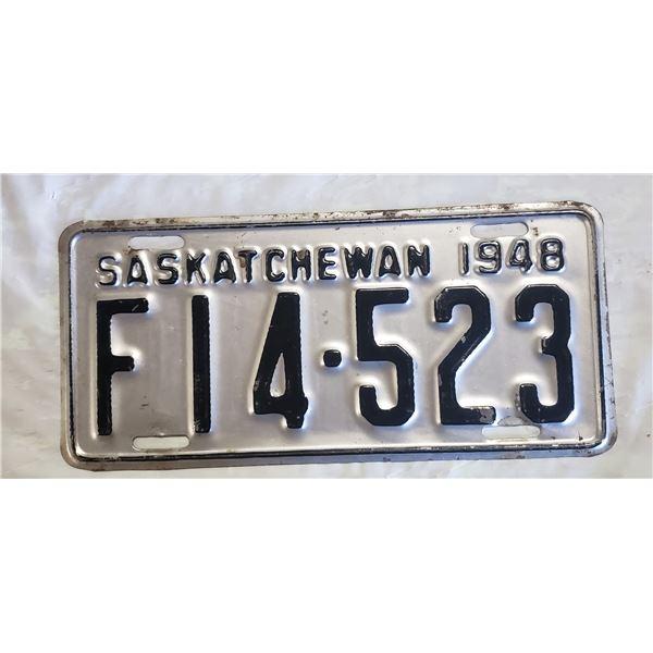 Saskatchewan license plate 1948 F14-523