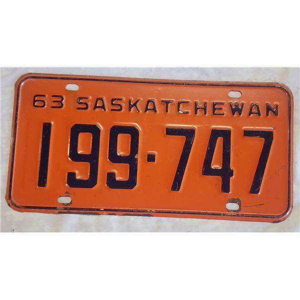Saskatchewan license plate 1963 199-747