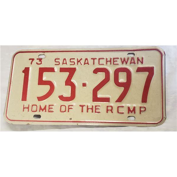 Saskatchewan license plate 1973 153-297