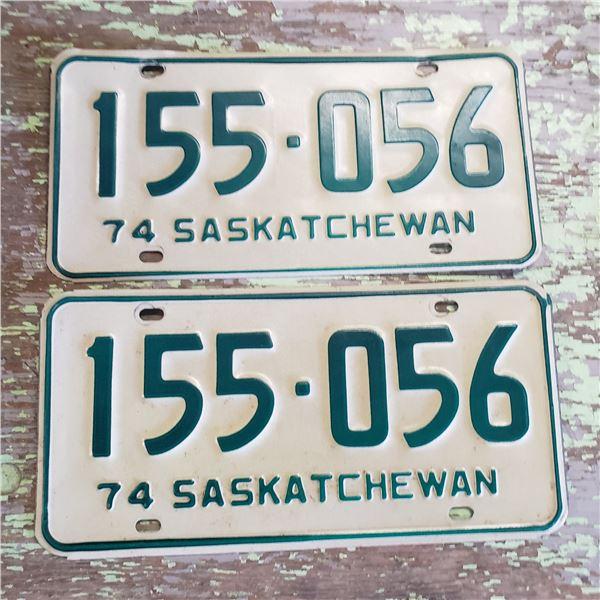 Saskatchewan license plates (pair) 1974 155-056 license plate
