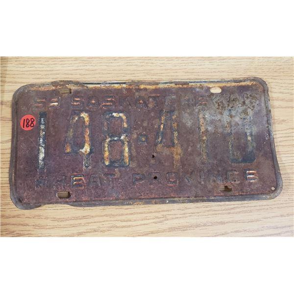 1959 SaskatchewanLicense Plate