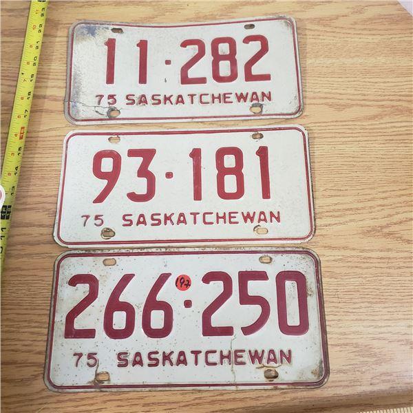 3x 1975 SaskatchewanLicense Plates