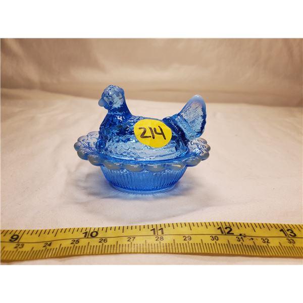 Miniature Light Blue Glass Hen on Nest