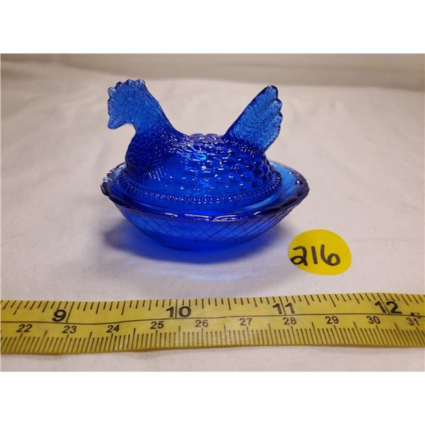 Miniature Royal Blue Glass Hen on Nest