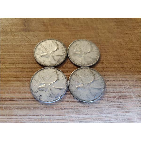 4 Canadian Silver Quarters 1963 x 4