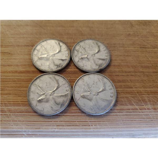 4 Canadian Silver Quarters 1962 x 4