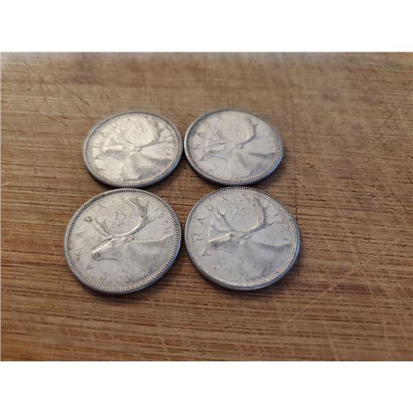 4 Canadian Silver Quarters 1963 x 2, 1964 x 2