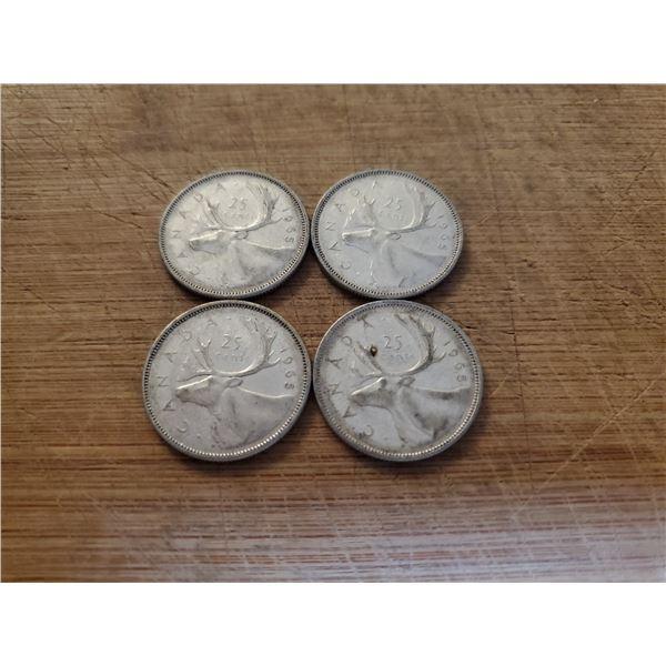 4 Canadian Silver Quarters 1965 x 4