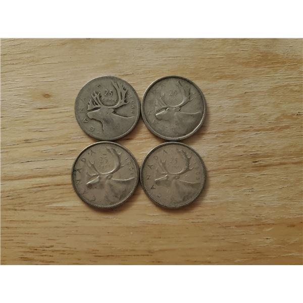 4 Canadian Silver Quarters